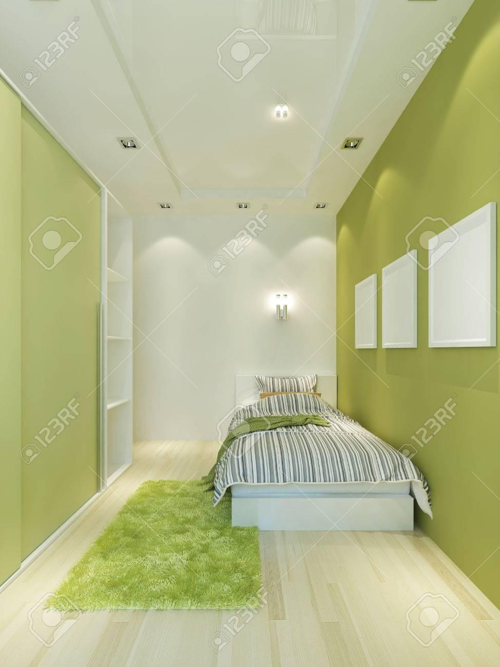 Schmale Kinderzimmer In Einem Modernen Stil Mit Einem Bett Und Einem