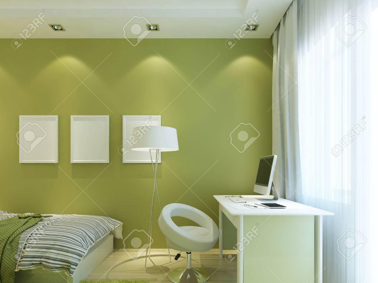 Salle moderne pour enfants couleur verte avec des affiches simulées