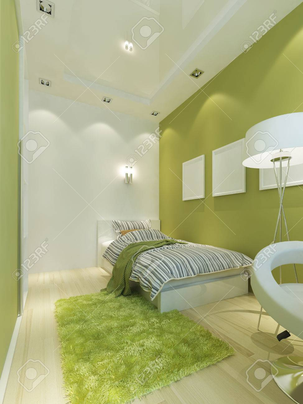 Children\'s Room Contemporary-style In Light Green Color With.. Stock ...