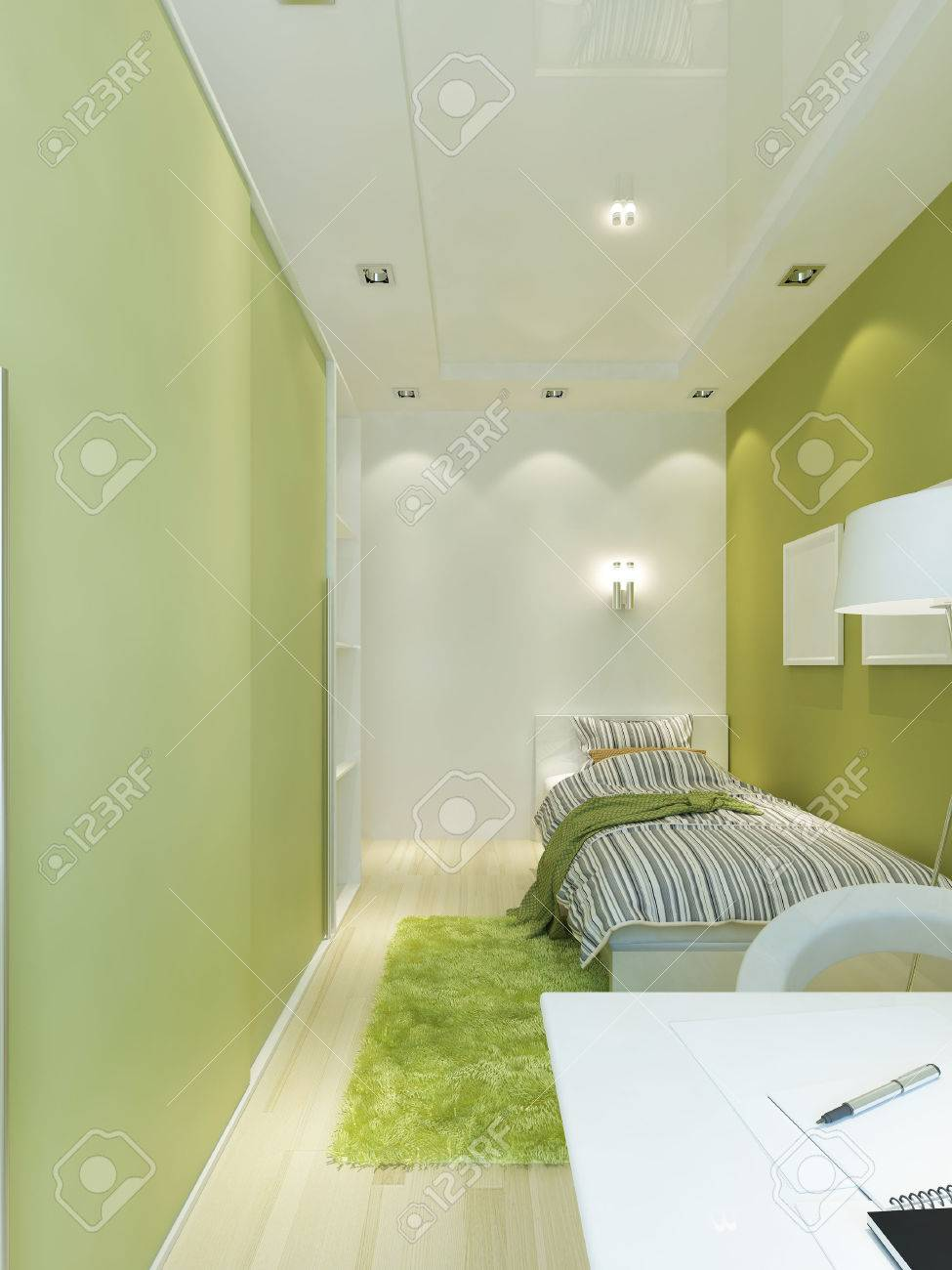design teen room space in the narrow room. interior contemporary