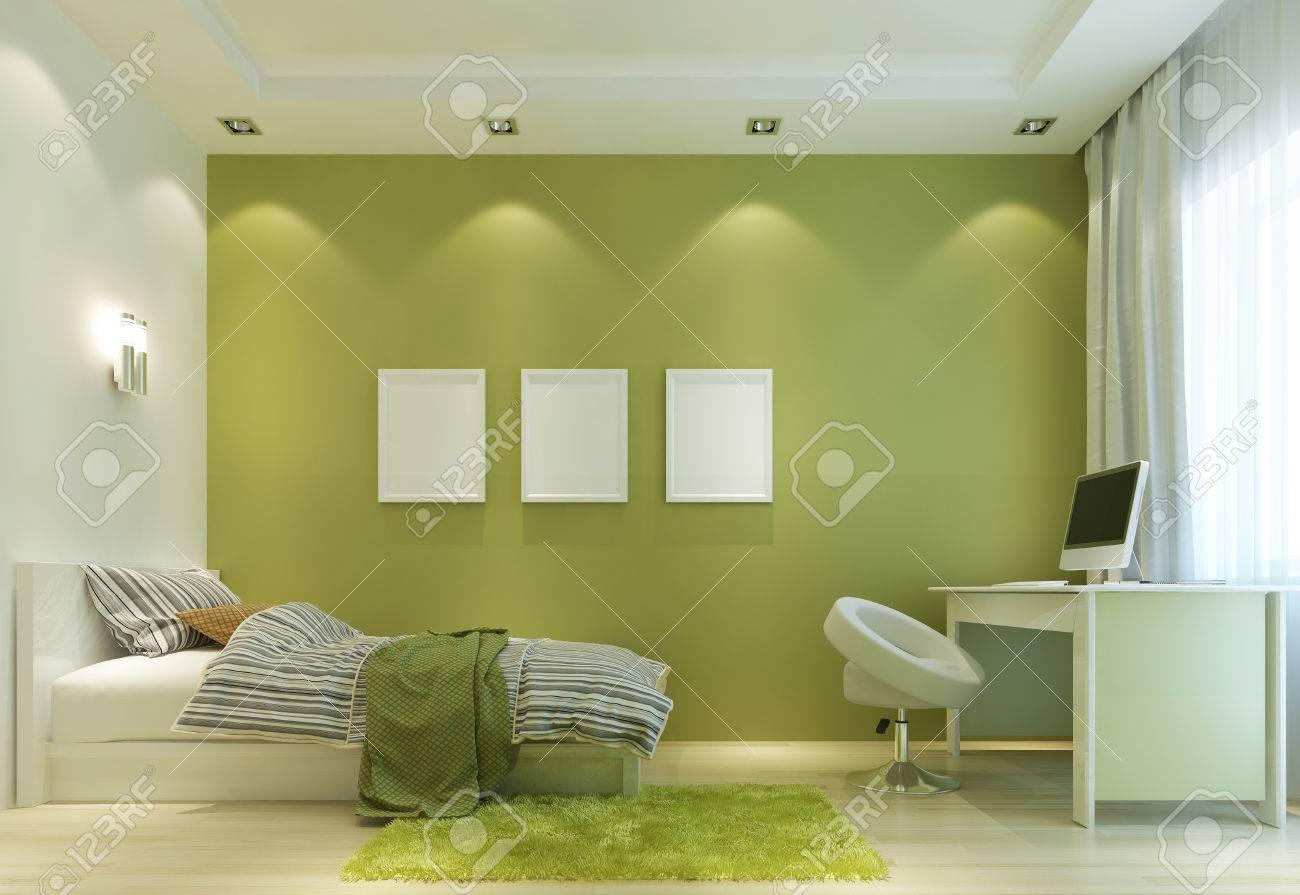 Entwerfen Sie Ein Kind Im Zimmer In Einem Modernen Stil, Mit Einem Bett Und  Einem Schreibtisch. Die Wände In Hellgrüner Farbe, Und Alle Möbel Sind Weiß.