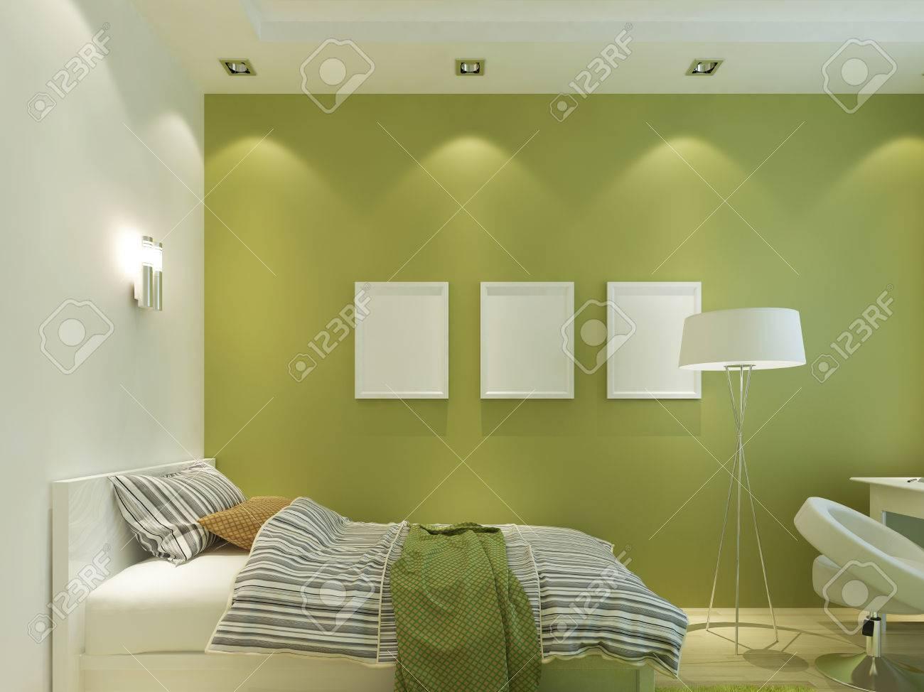 Moderne Kinderzimmer Grune Farbe Mit Mockup Poster An Der Wand Und