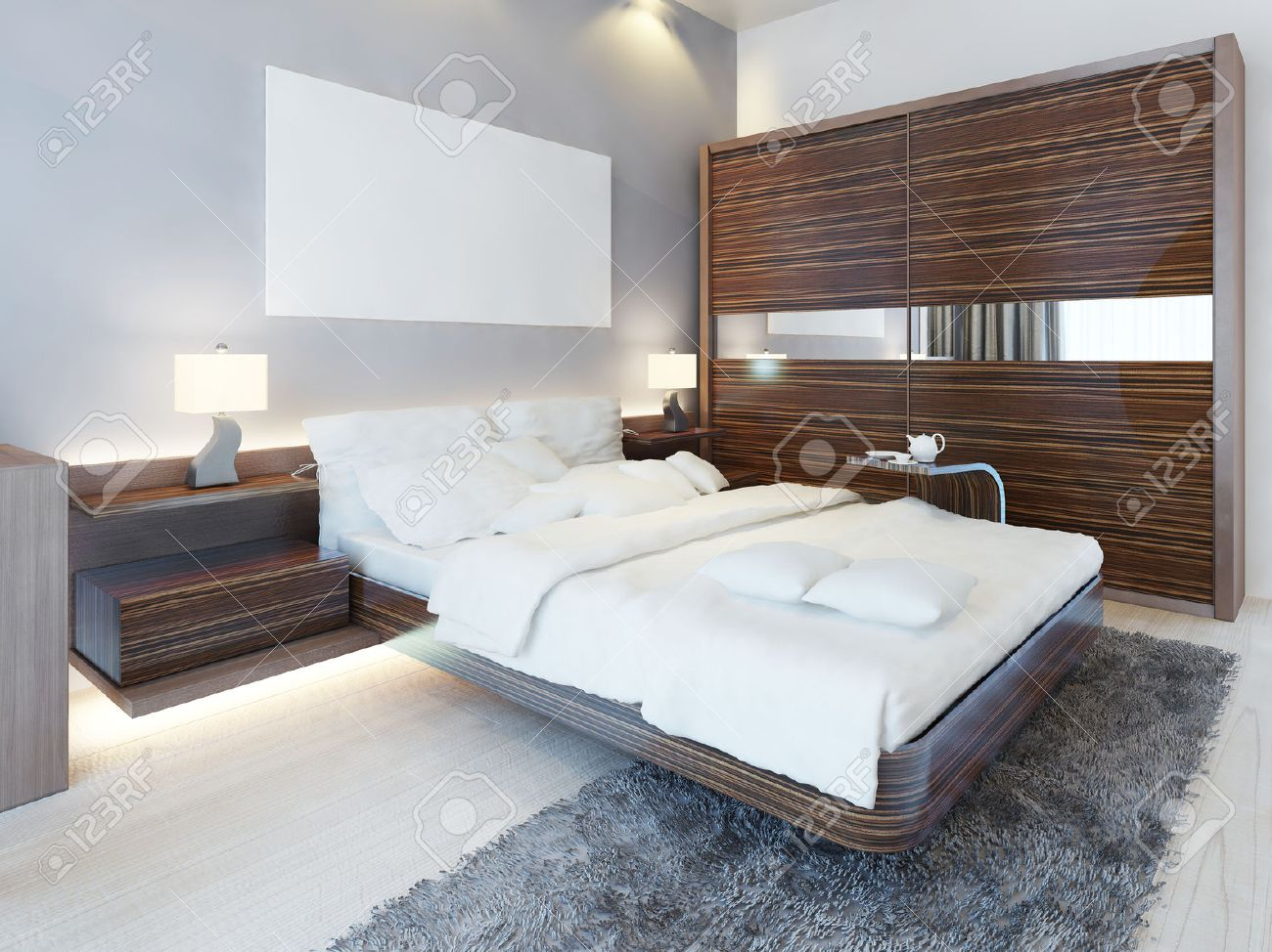Contemporary bedroom in white colors and furniture Zebrano. Luxury..