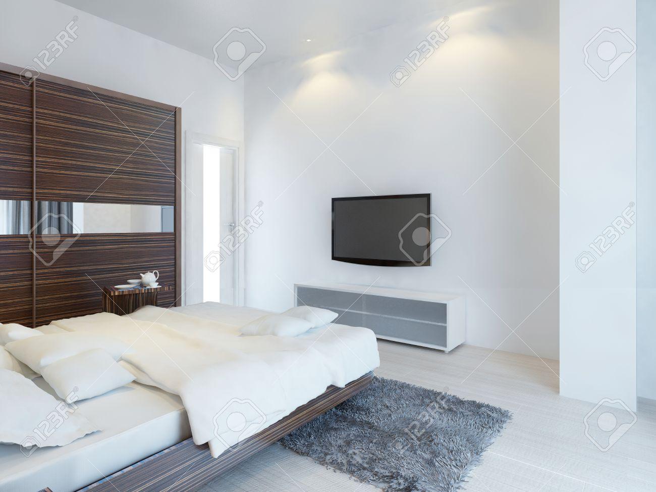 Chambre Avec Tv Et Une Console Multimedia Avec Une Grande Armoire Coulissante Avec Inserts De Miroir Les Meubles Du Zebrawood Rendu 3d