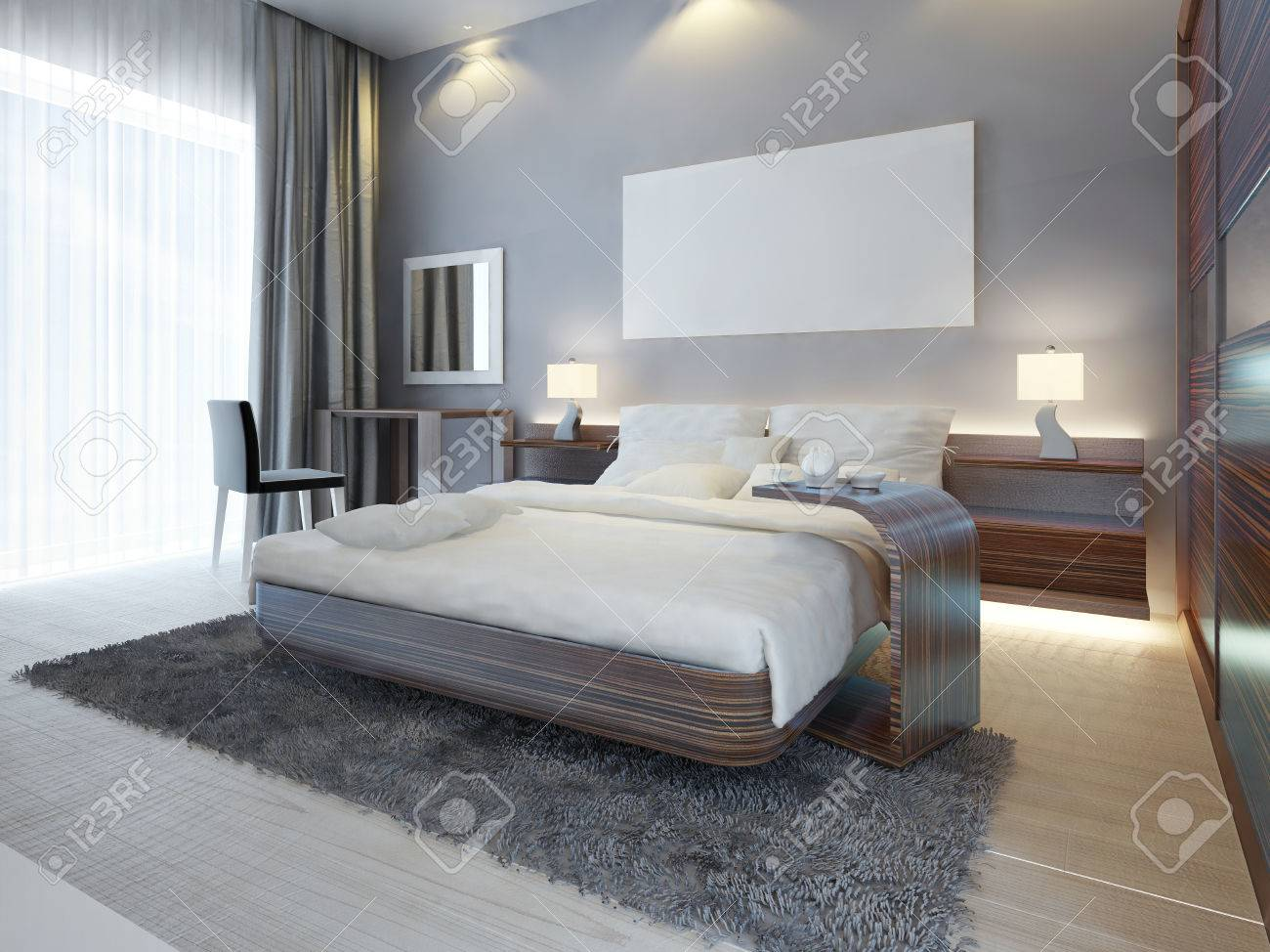 Large luxury bedroom in Contemporary style white, brown and gray..