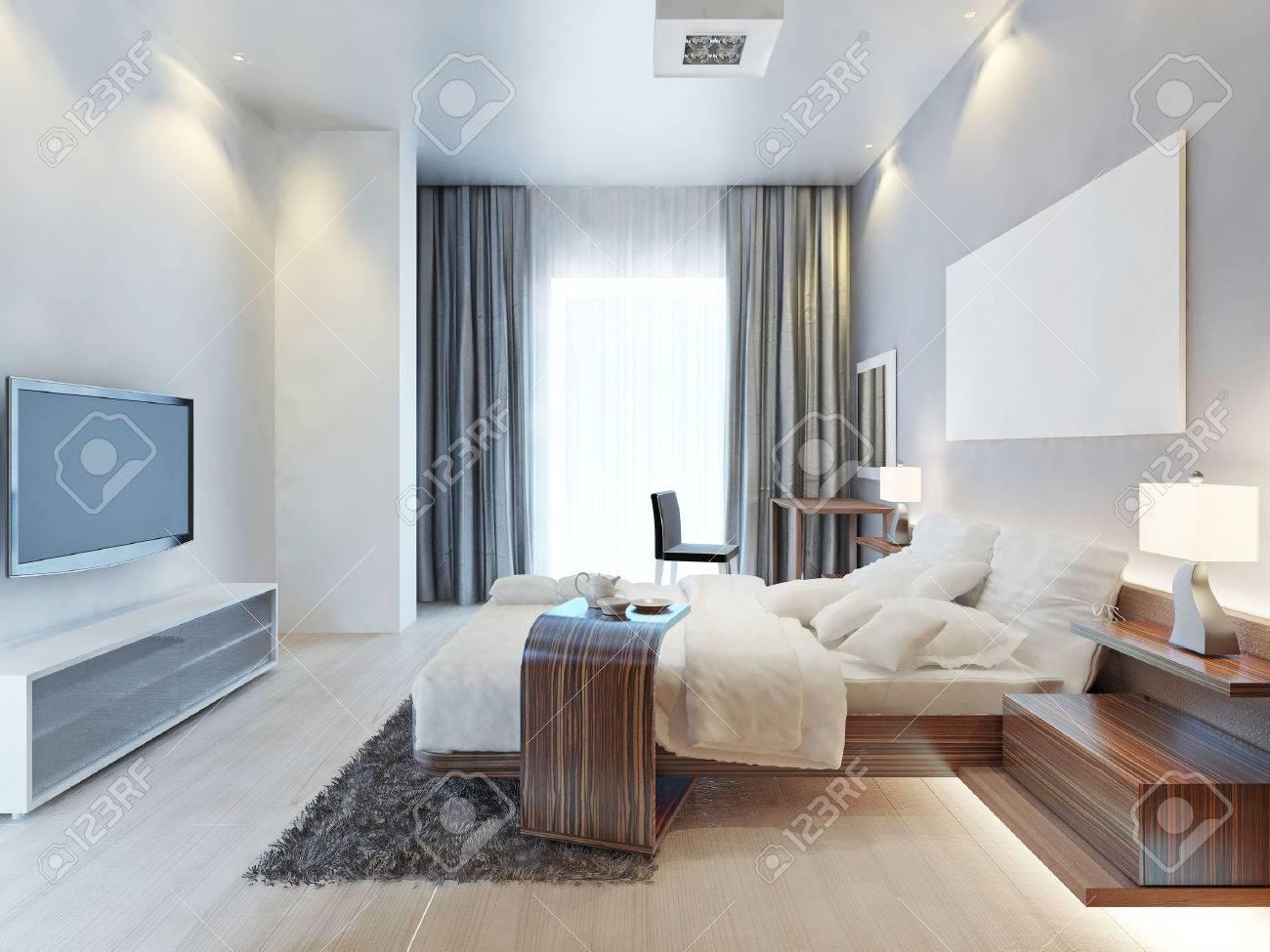 Conception Chambre Chambre De Style Contemporain Avec Des Meubles En ...