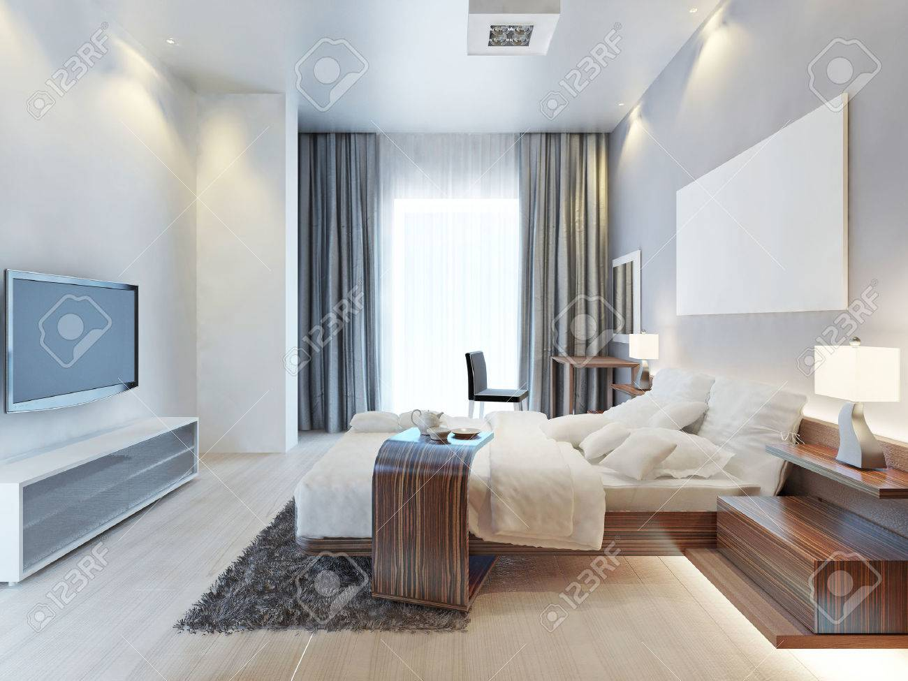 Design Bedroom Contemporary-style Room With Wooden Furniture.. Stock ...