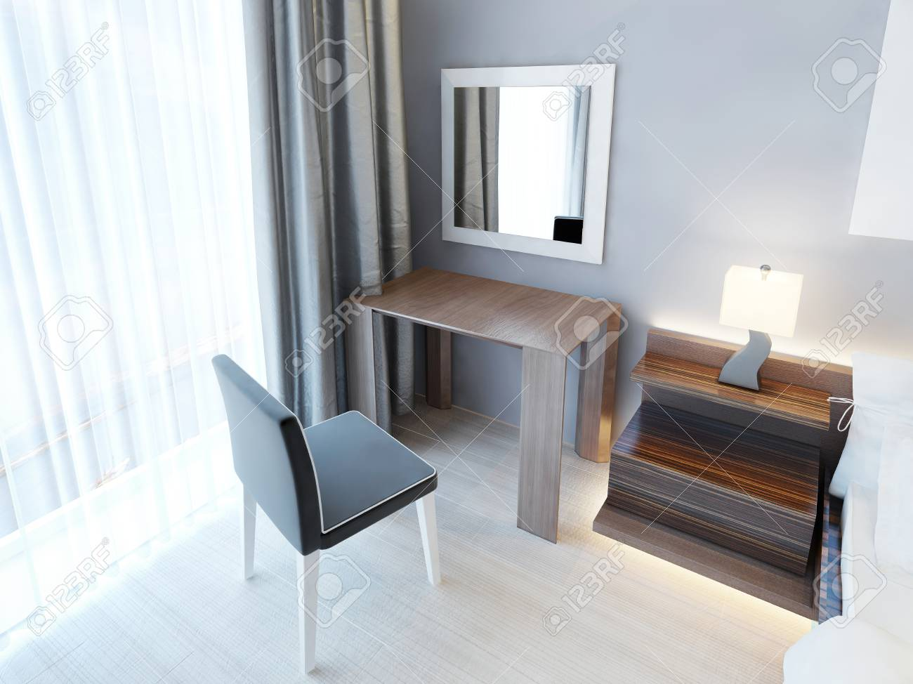 Modern Dressing Table With Chair And Mirror, And A Bedside Nightstand With  Lamp. Bedroom