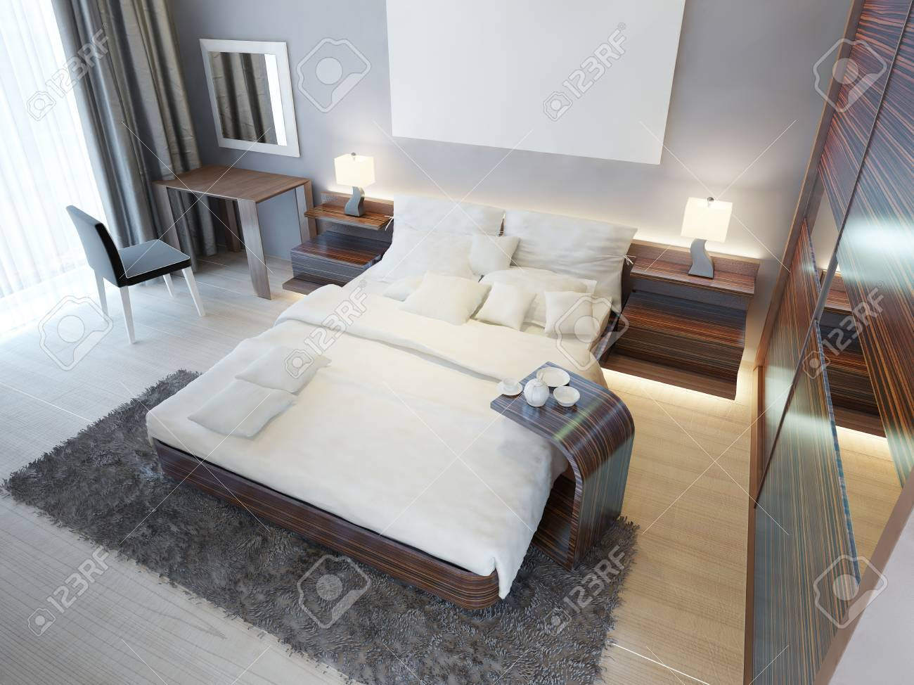 Comfortable bedroom in Contemporary style with brown furniture..