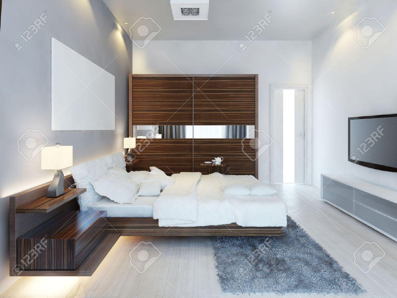 El Diseno Moderno De Dormitorio De La Luz Con Un Gran Armario - Dormitorio-diseo-moderno