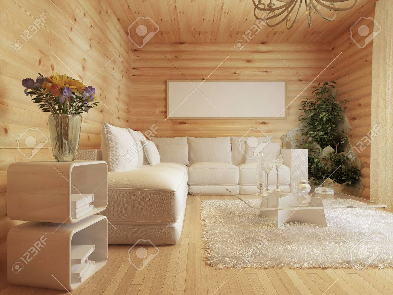 Wohnzimmer Innenraum In Einem Blockhaus. Interieur In Modernem Stil ...