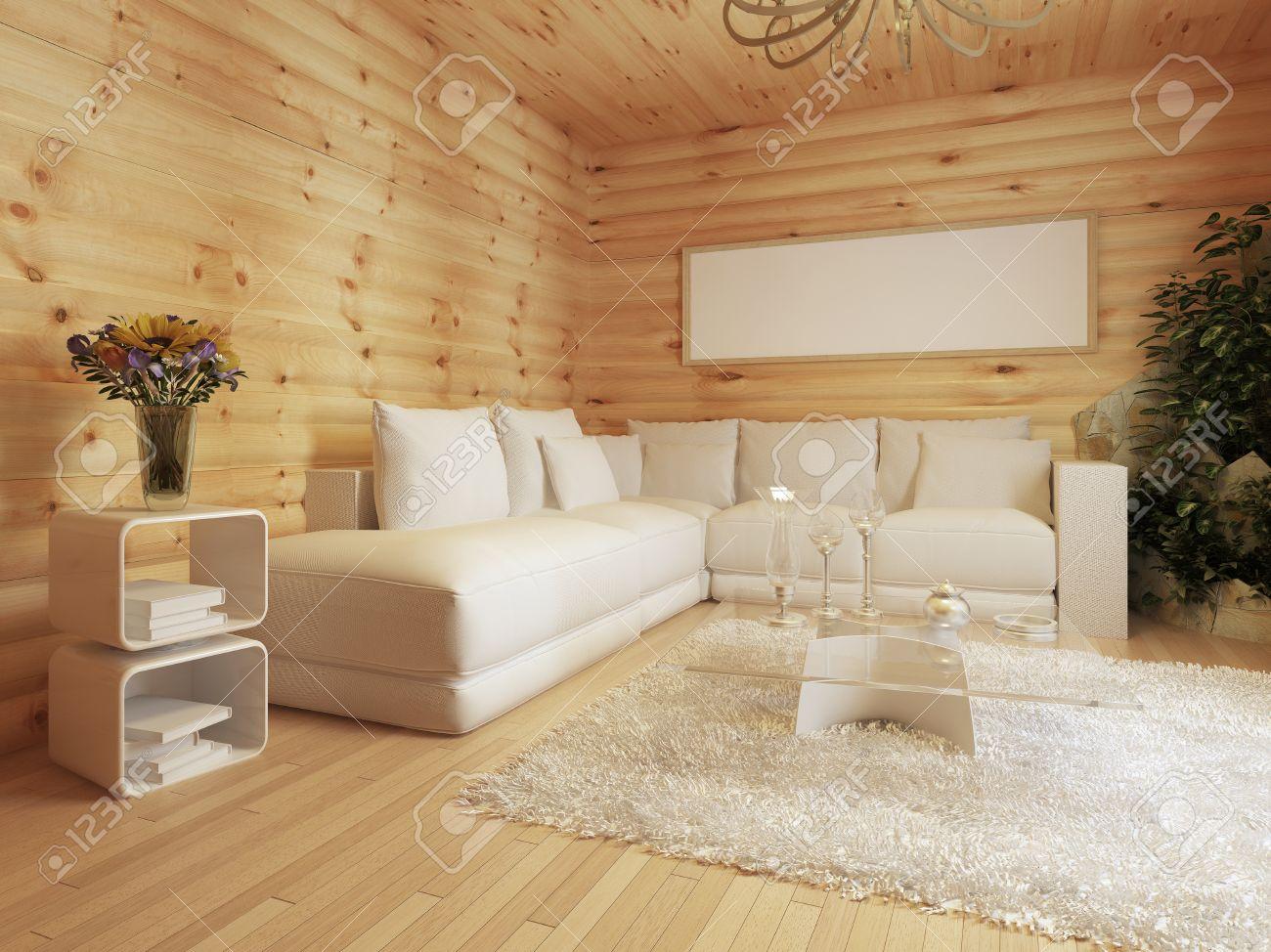 Salón Interior En Una Casa De Madera. Interior En Estilo Moderno Con ...