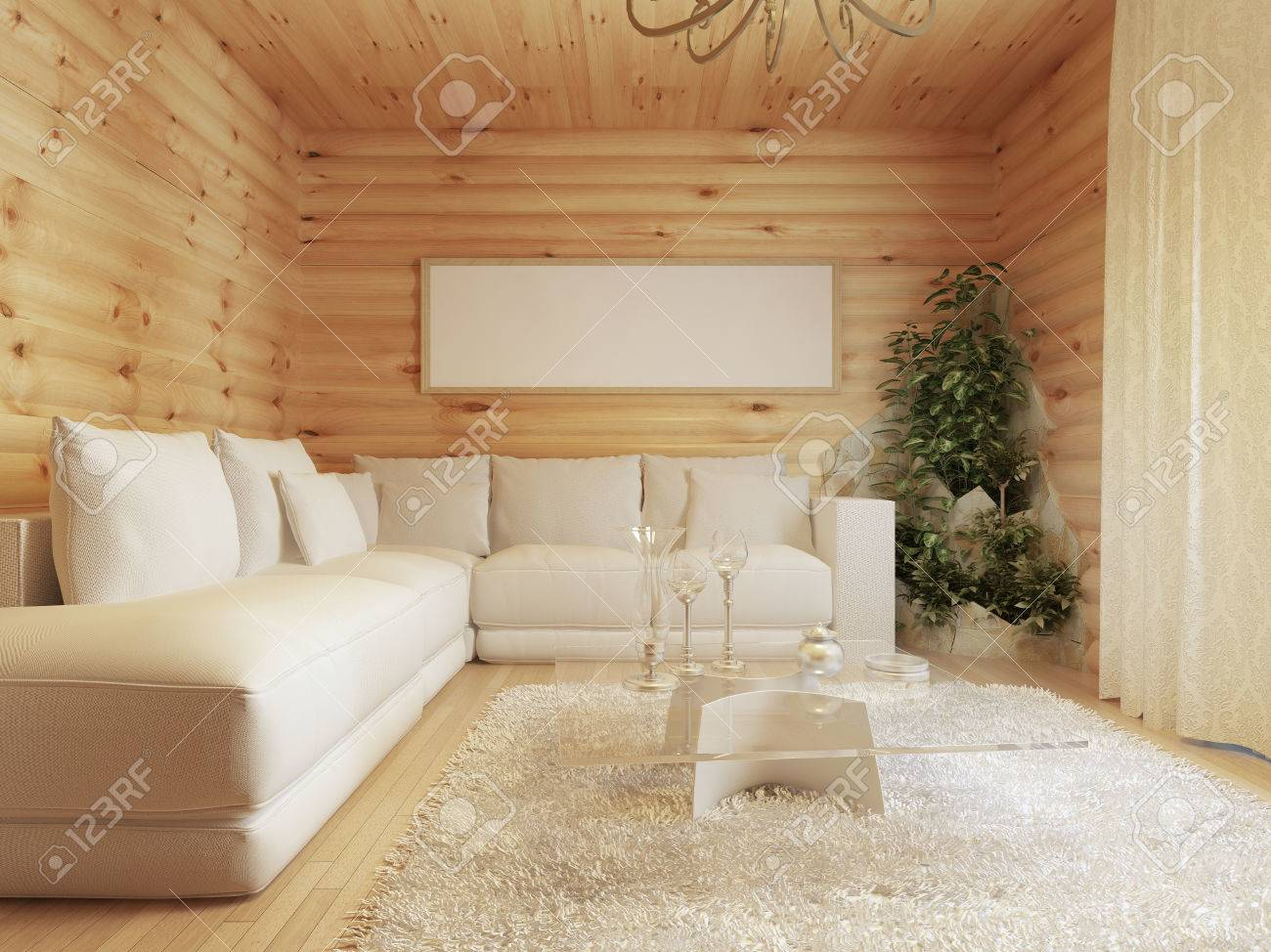 Living room interior in a log house interior in modern style with a corner sofa