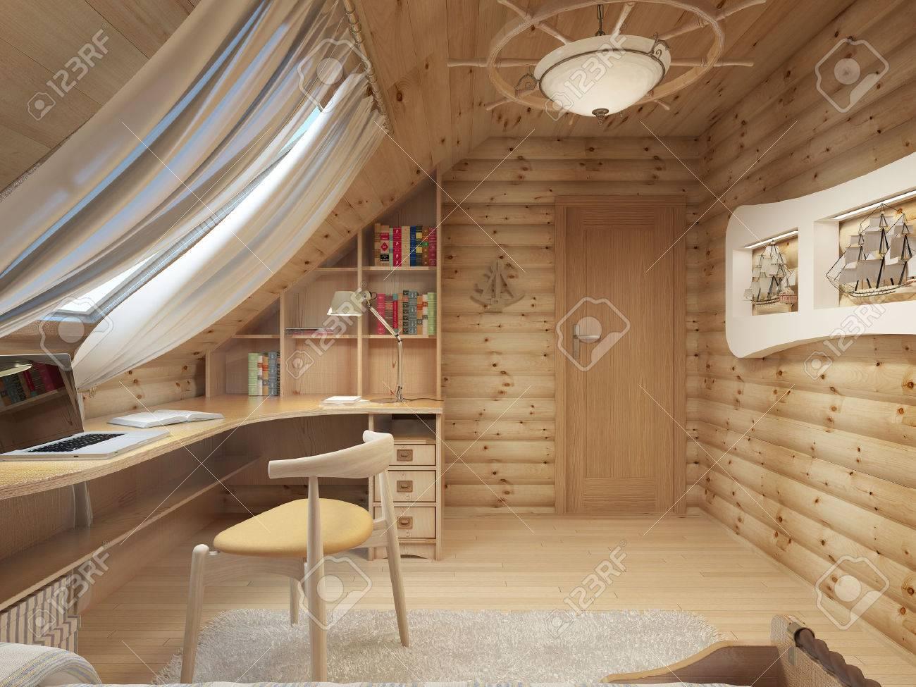 Connectez l espace intérieur pour un adolescent du bois dans un