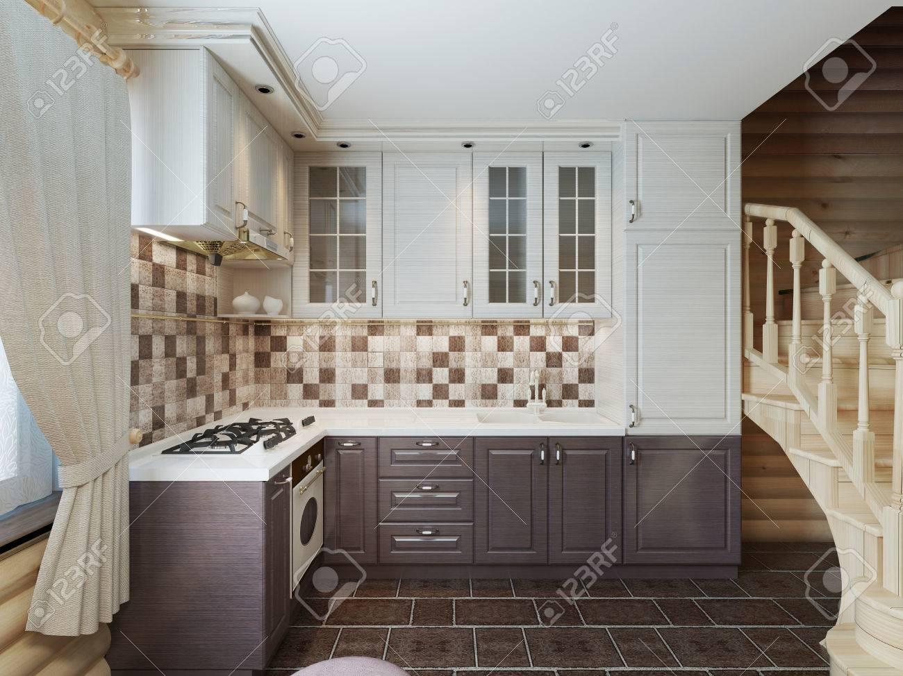 Die Küche Im Blockhaus In Einem Modernen Stil Von Schwarzen Und ...