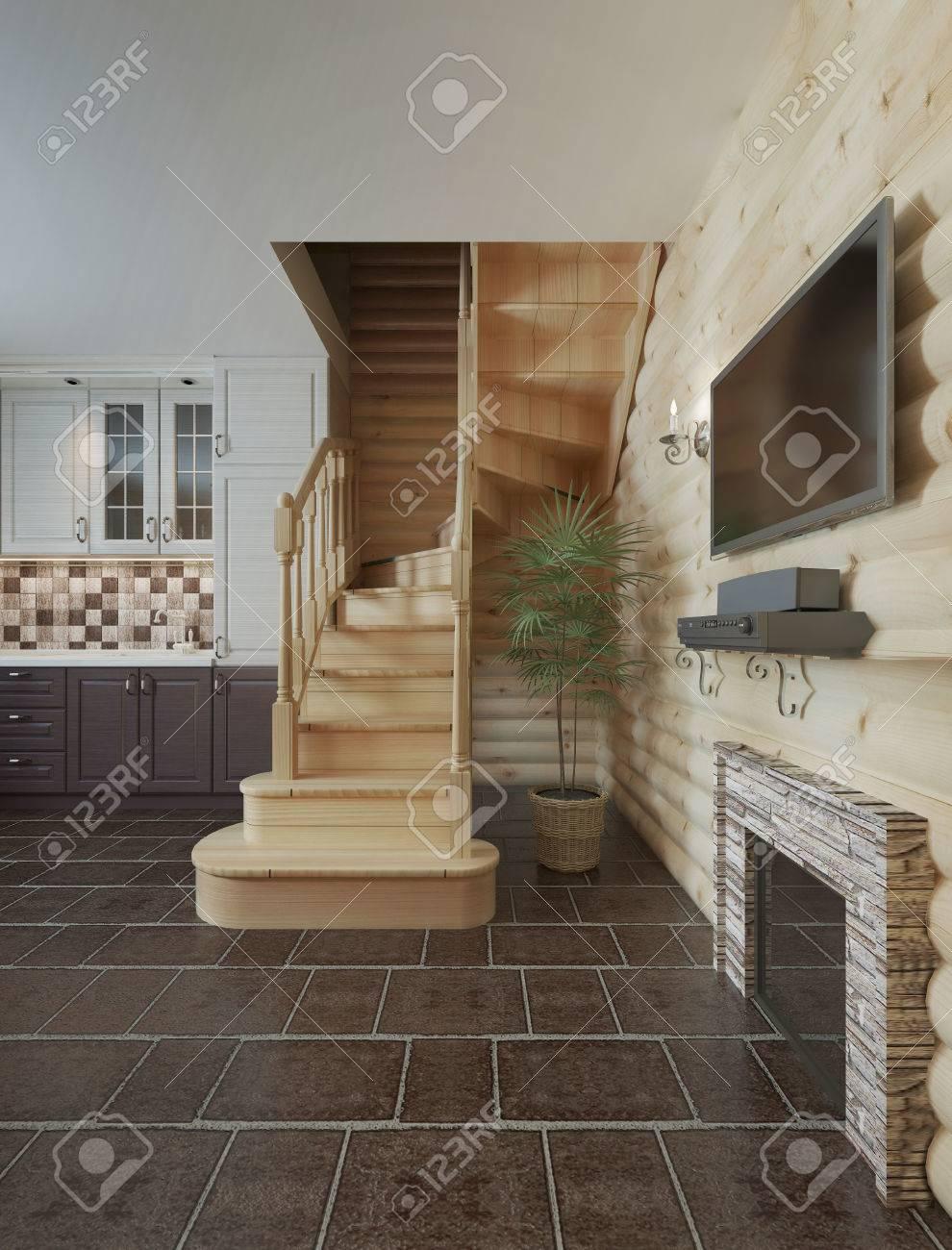 Die Treppe In Der Küche Esszimmer Blockhaus Unter. Holztreppe In Den ...