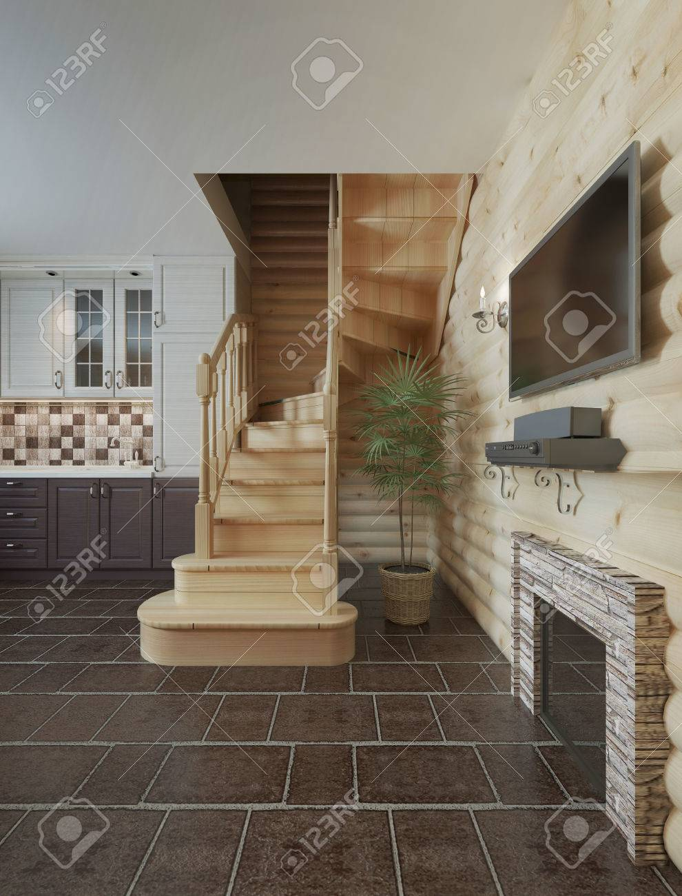The Flight Of Stairs In The Kitchen Dining Room Log Cabin Interior. Wooden  Stairs To