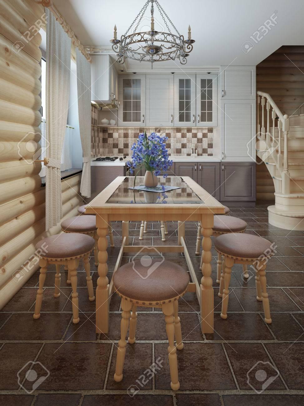 Esstisch Und Stühle Durch Die Fenster In Der Zwischen Eines Log-Stil ...