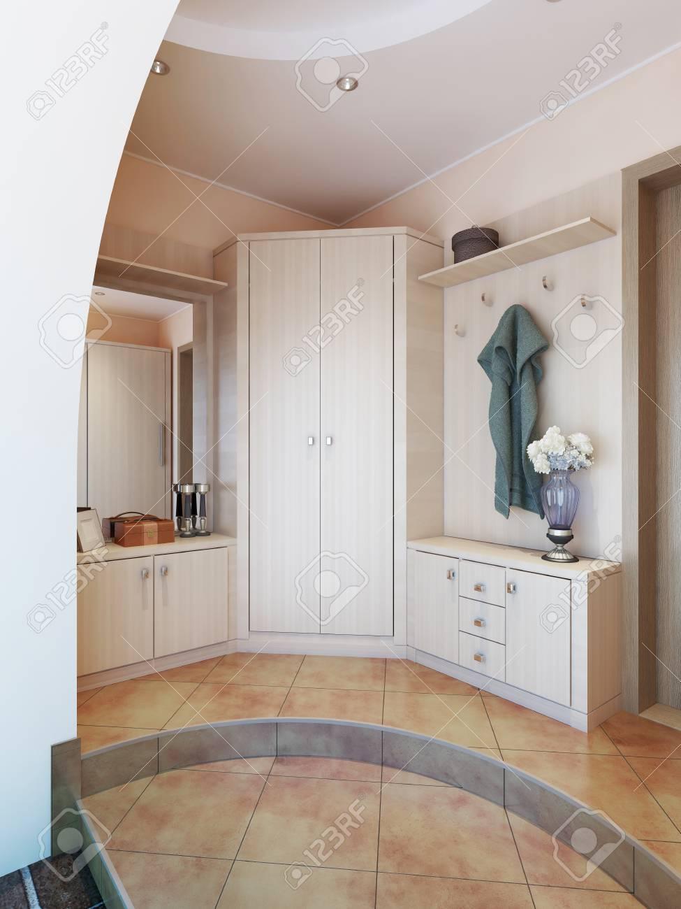 Grand Miroir D Entrée hall d'entrée dans un style moderne avec des cintres, une table miroir  dressing et un grand placard coulissant. rendu 3d.