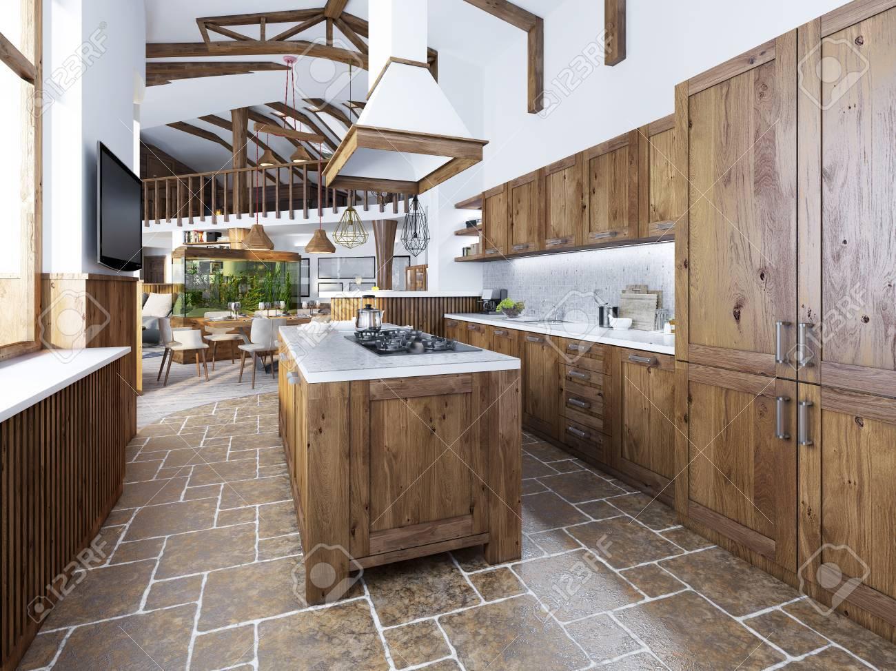 La Grande Cuisine Dans Le Style Loft Avec Une Ile Au Milieu Meubles En Bois Avec Plan De Travail Et Blanc Mosaique Avec Des Appareils Integres
