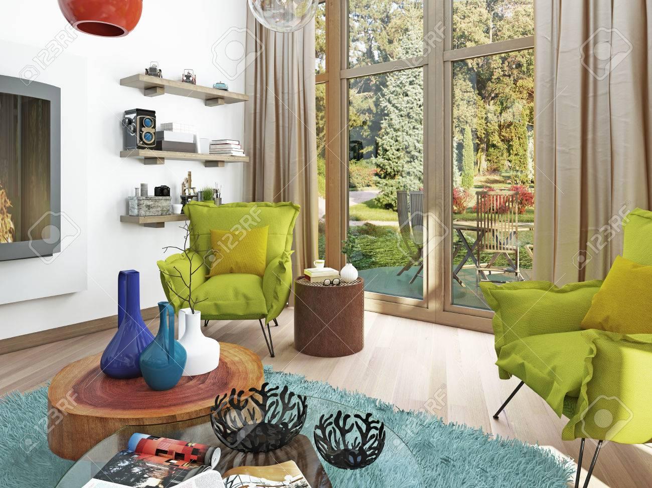 Moderne Wohnzimmer Mit Sitzecke Mit Zwei Stühlen. Bequeme Stühle Im Stil  Des Kitsches Grüne Farbe