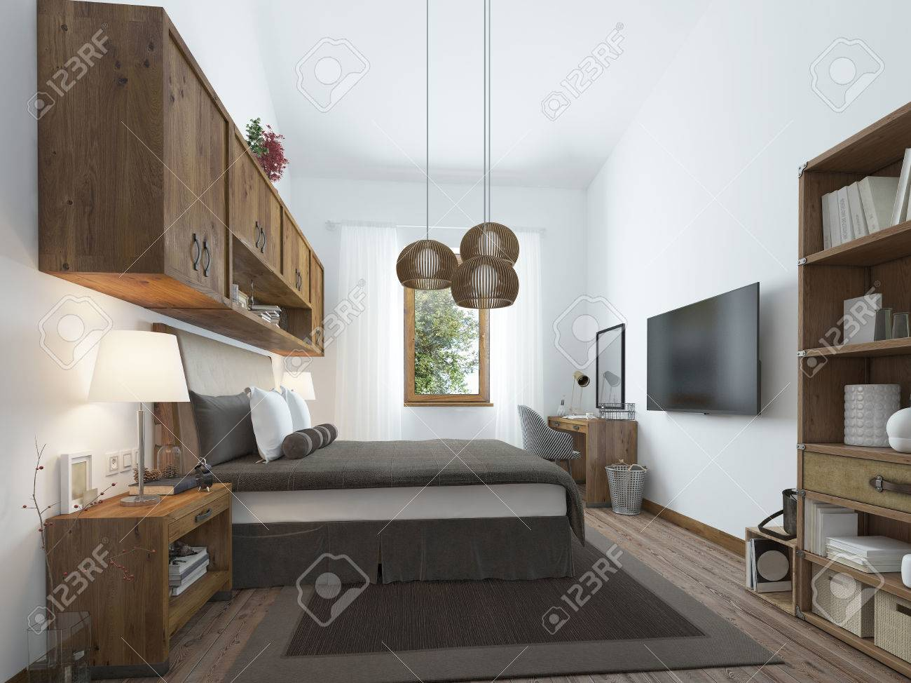 Grande Chambre Dans Un Style Moderne Avec Des éléments D\'un Loft ...
