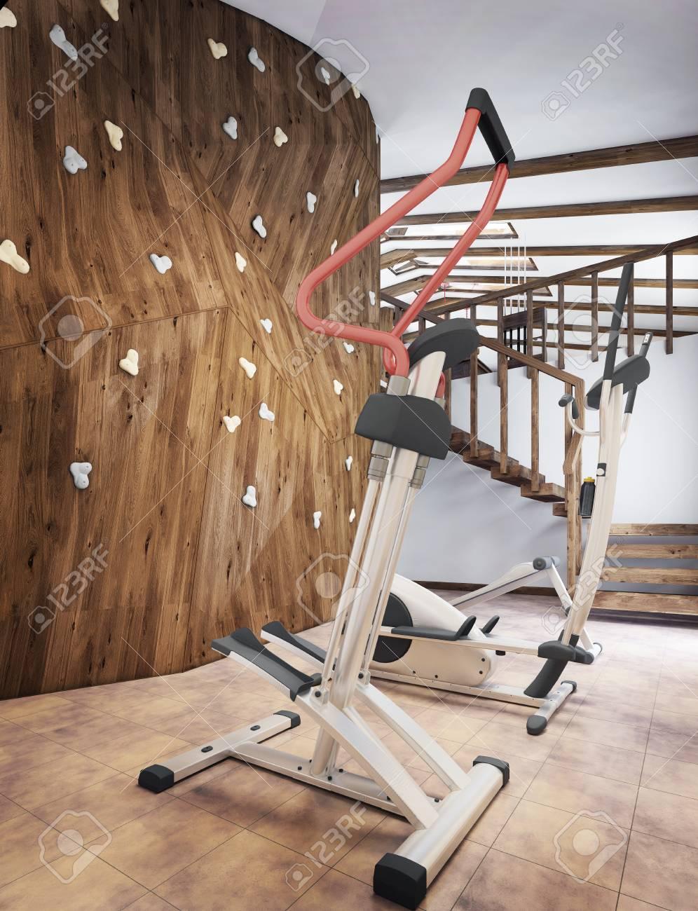 Salle De Sport Privée piscine dans une maison privée avec salle de sport et un mur d'escalade  dans le style loft. rendu 3d.