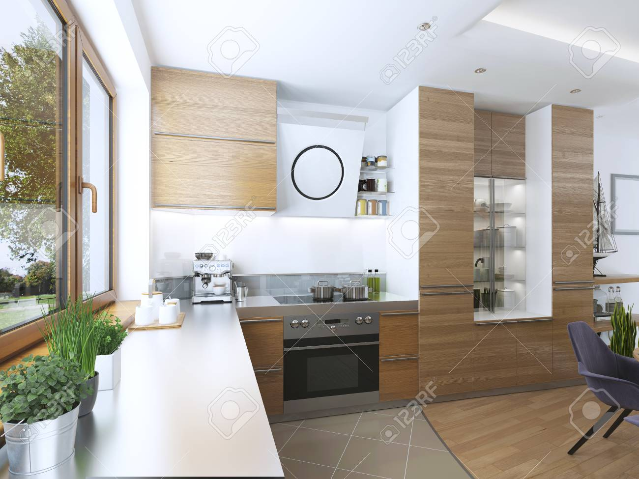 Cuisine Moderne Dans Le Style Contemporain Salle A Manger Facades De Cuisine De Bois Clair Avec Une Cagoule Sur La Cuisiniere Et Les Appareils