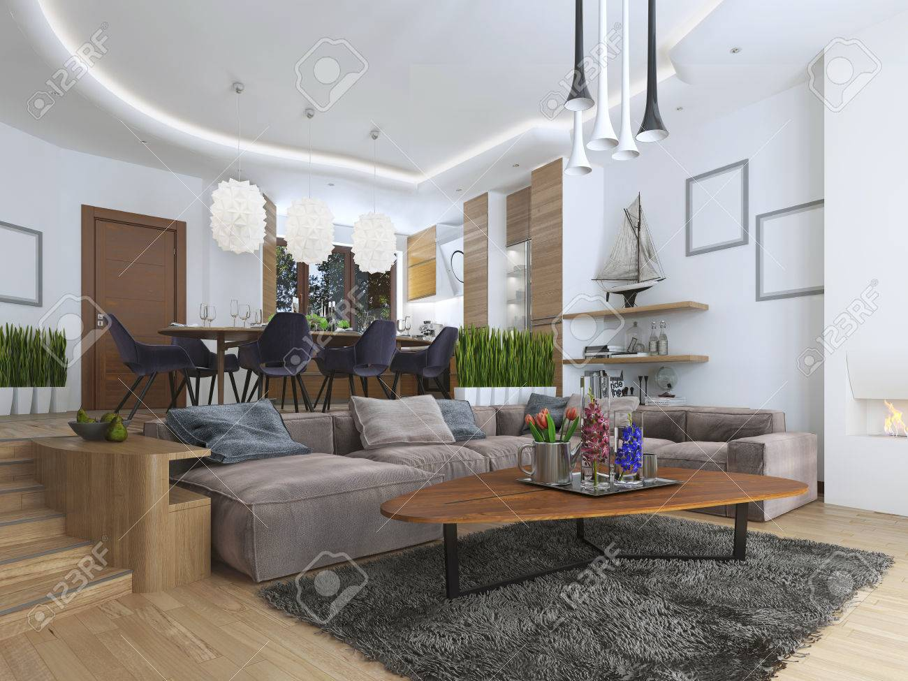 Stock Photo   Studio Apartment With Living Room And Dining Room In A  Contemporary Style. Large Sofa With Designer Coffee Low Table And  Decoration On The ...