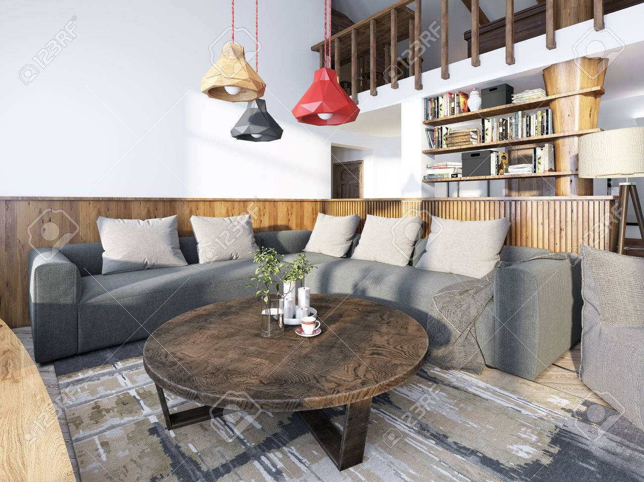 Superbe Large Corner Sofa In The Living Room Luxury Loft Style, With Wood Paneled  Walls And