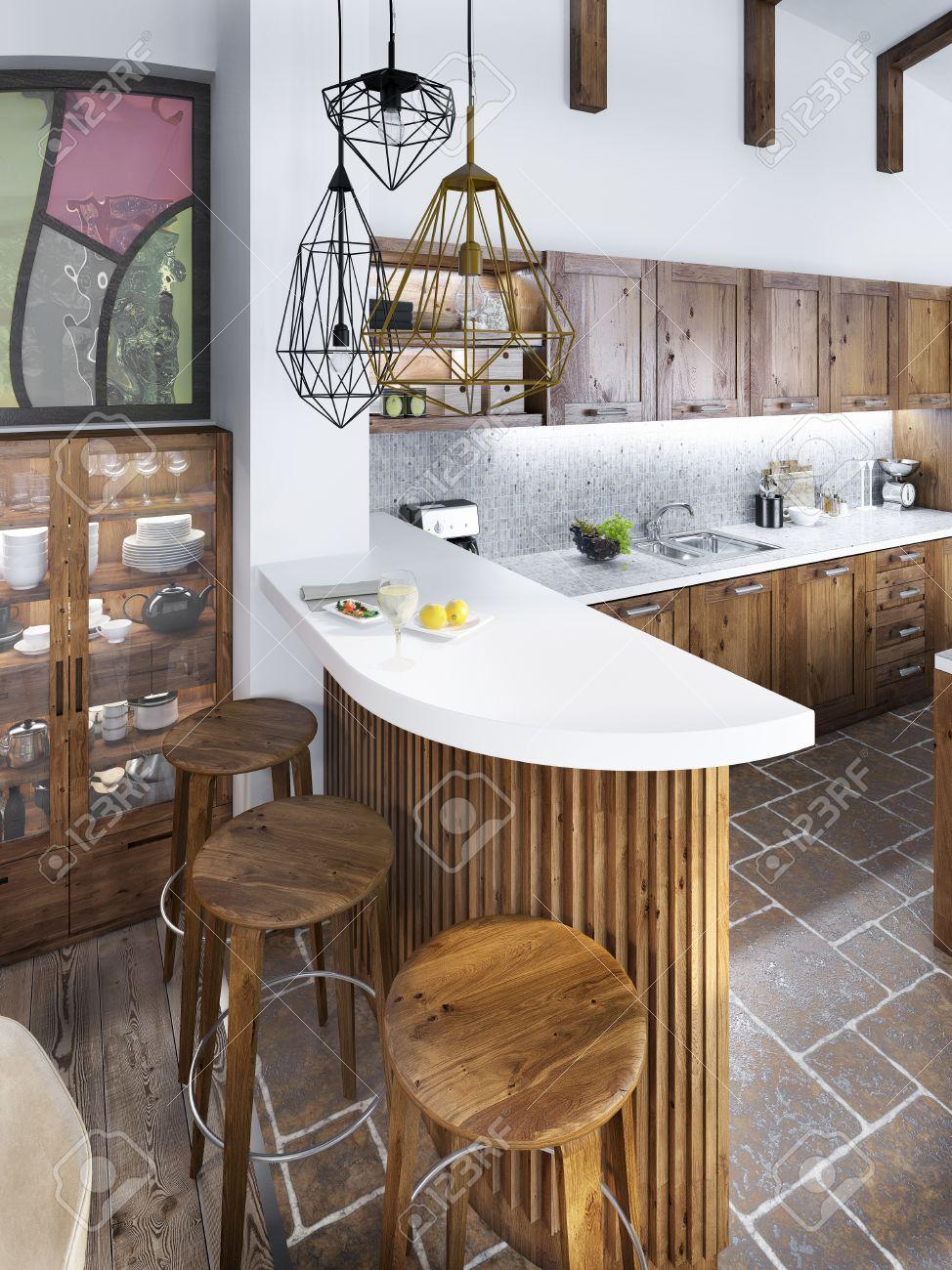 La Barra De Bar En El Estilo Loft De Cocina. La Barra De Madera Con ...