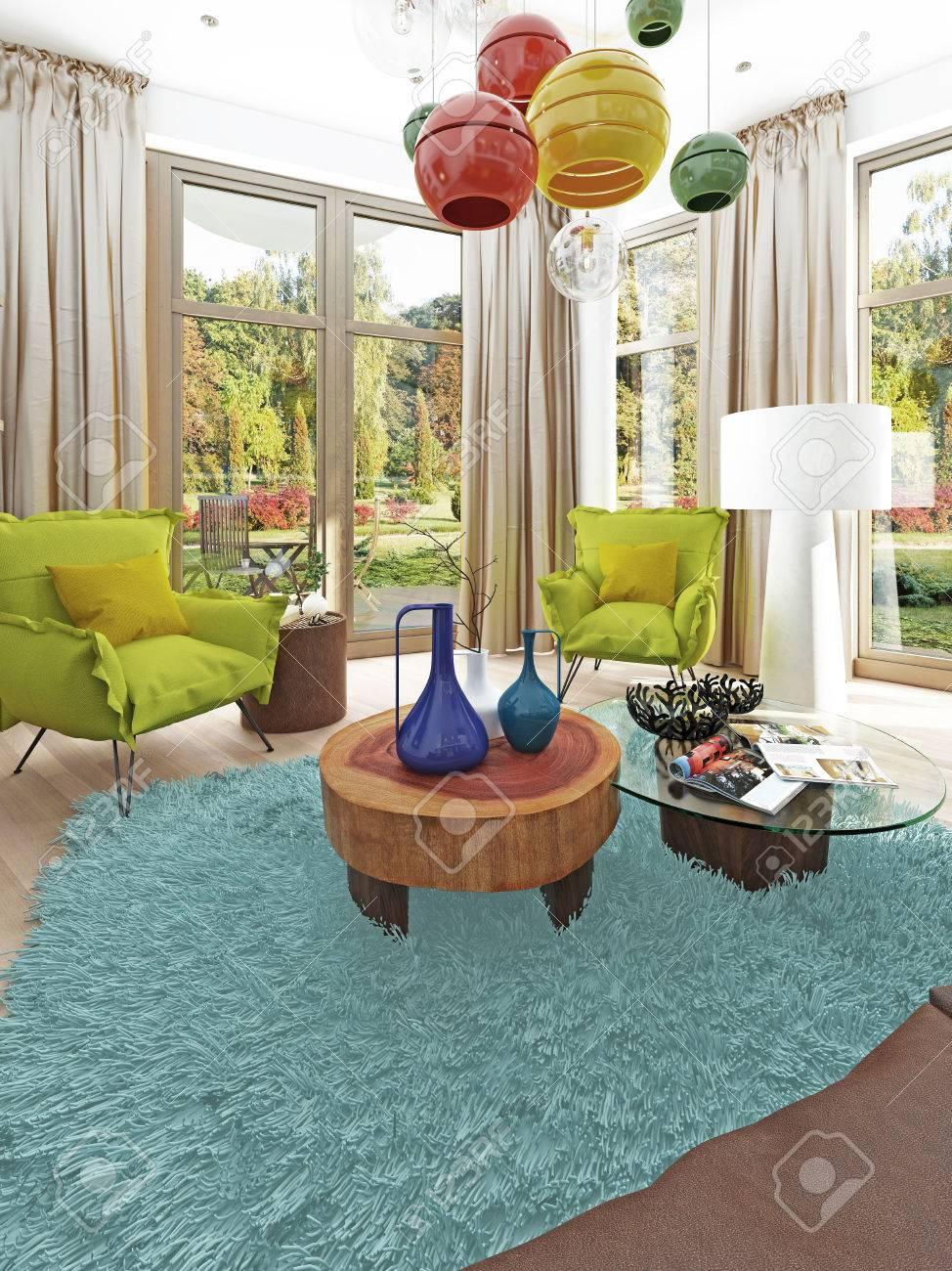 Moderne Wohnzimmer Mit Sitzecke Mit Zwei Stühlen. Bequeme Stühle Im ...