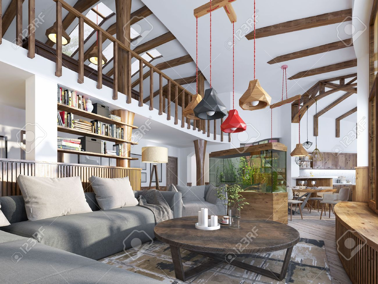 Interior living room loft style maisonette a modern living room with a billiard room