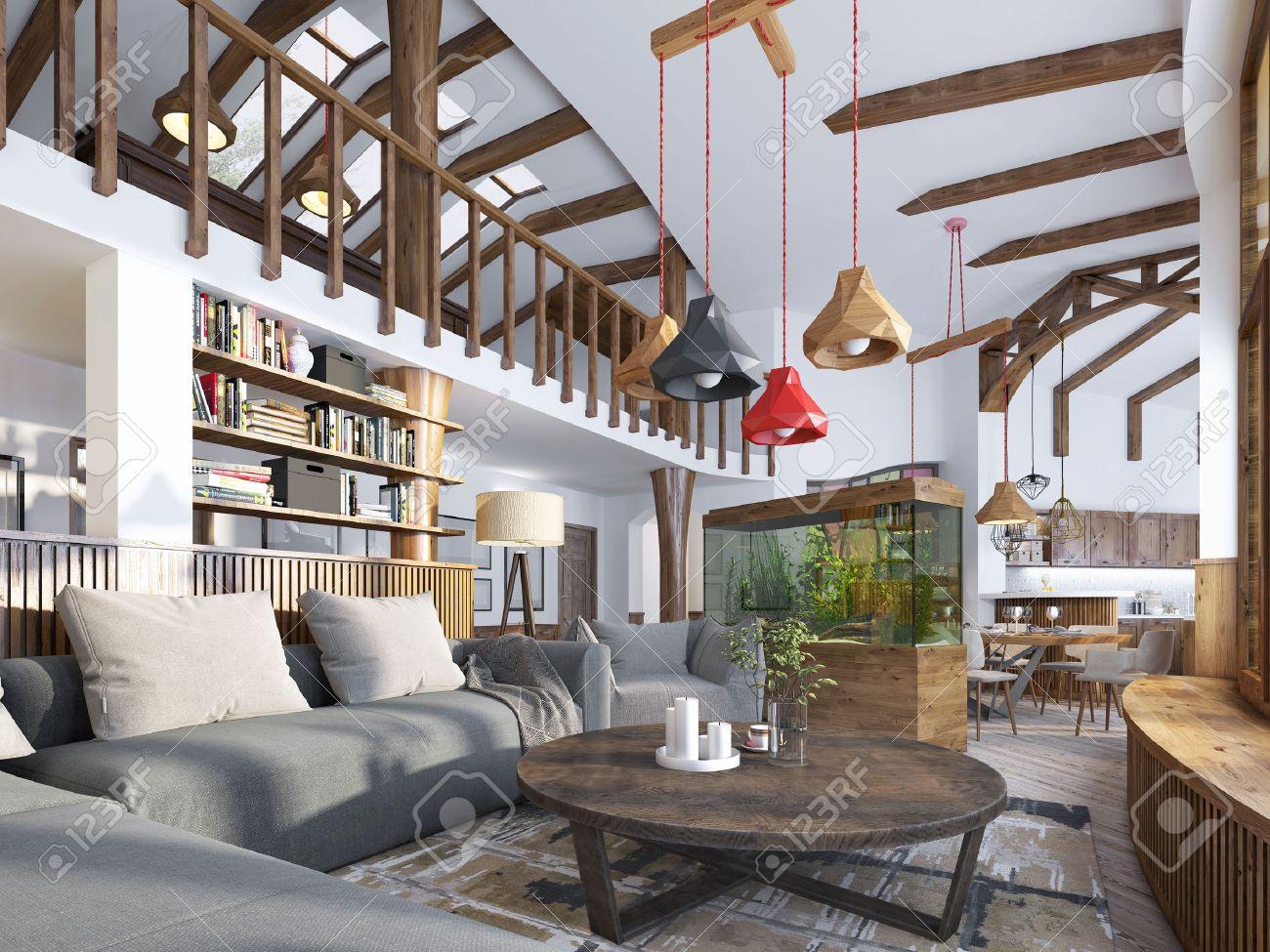 Interior Wohnzimmer, Loft Stil. Maisonette Ein Modernes Wohnzimmer Mit  Einem Billardraum Im Großen