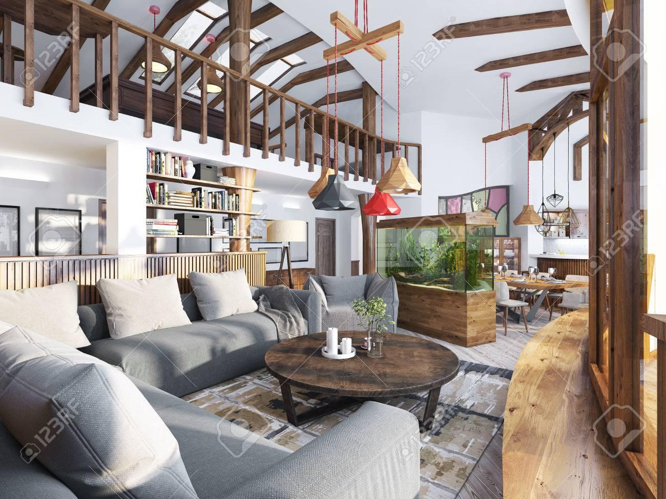 Relativ Großes Wohnzimmer Studio Mit Einer Küchenzeile Und Einem Balkon In PT37