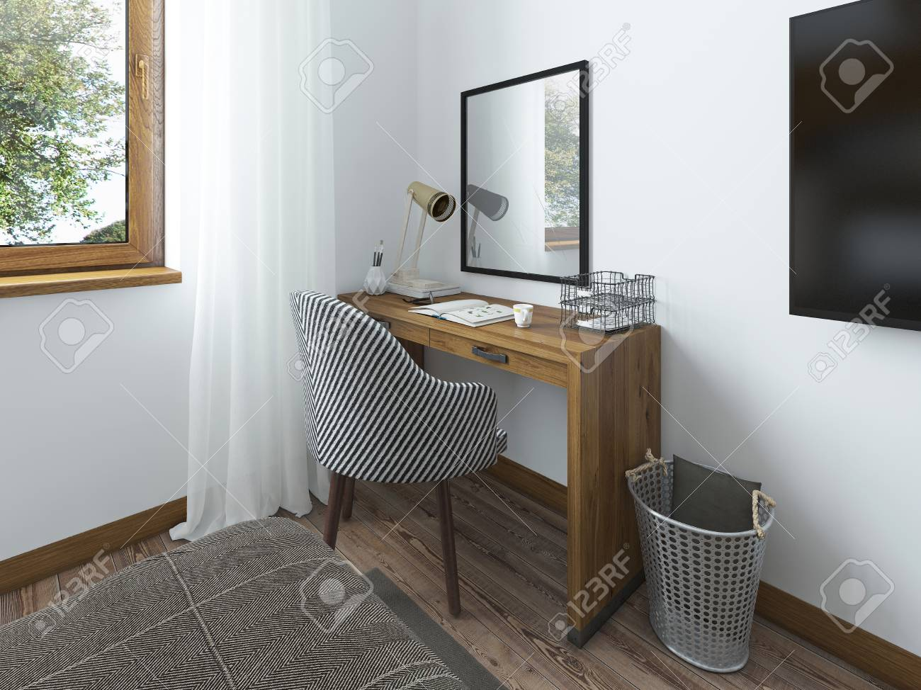 Above The Table Hangs A Mirror On The Desk Working Papers And Decor.  Dressing Table In The Bedroom In The Loft. 3D Render.