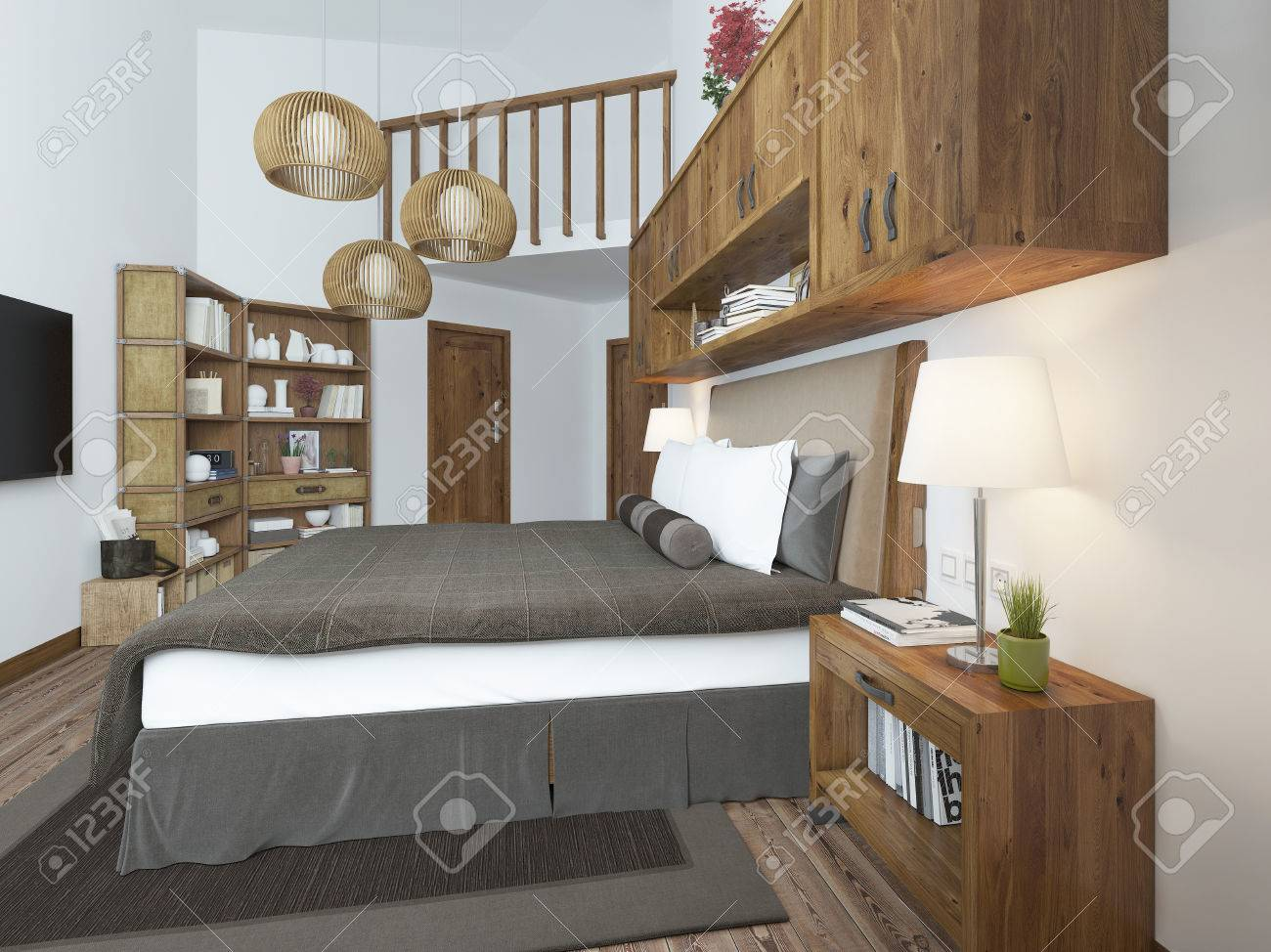 Large Bright Bedroom In The Loft Above The Bed Hang Shelves Stock Photo Picture And Royalty Free Image Image 60563988