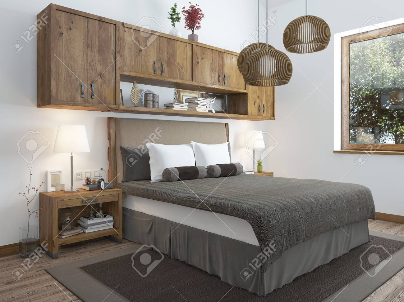 Schon Große, Helle Schlafzimmer Im Dachgeschoss. Über Dem Bett Hängen Regale  Geschlossen Und Nachttische Mit
