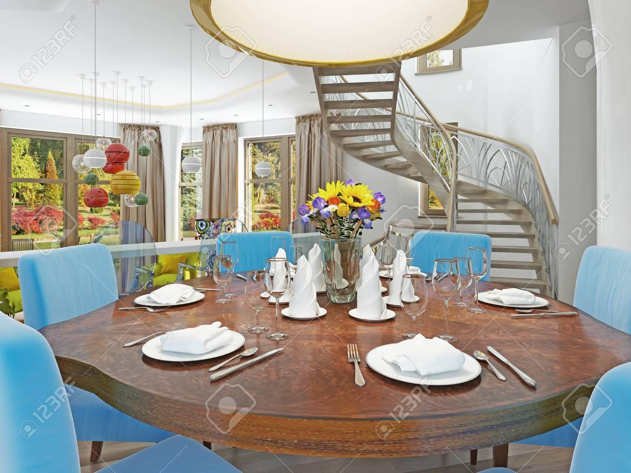 Moderne Esszimmer Mit Küche In Einem Trendigen Stil Kitsch. Runder ...