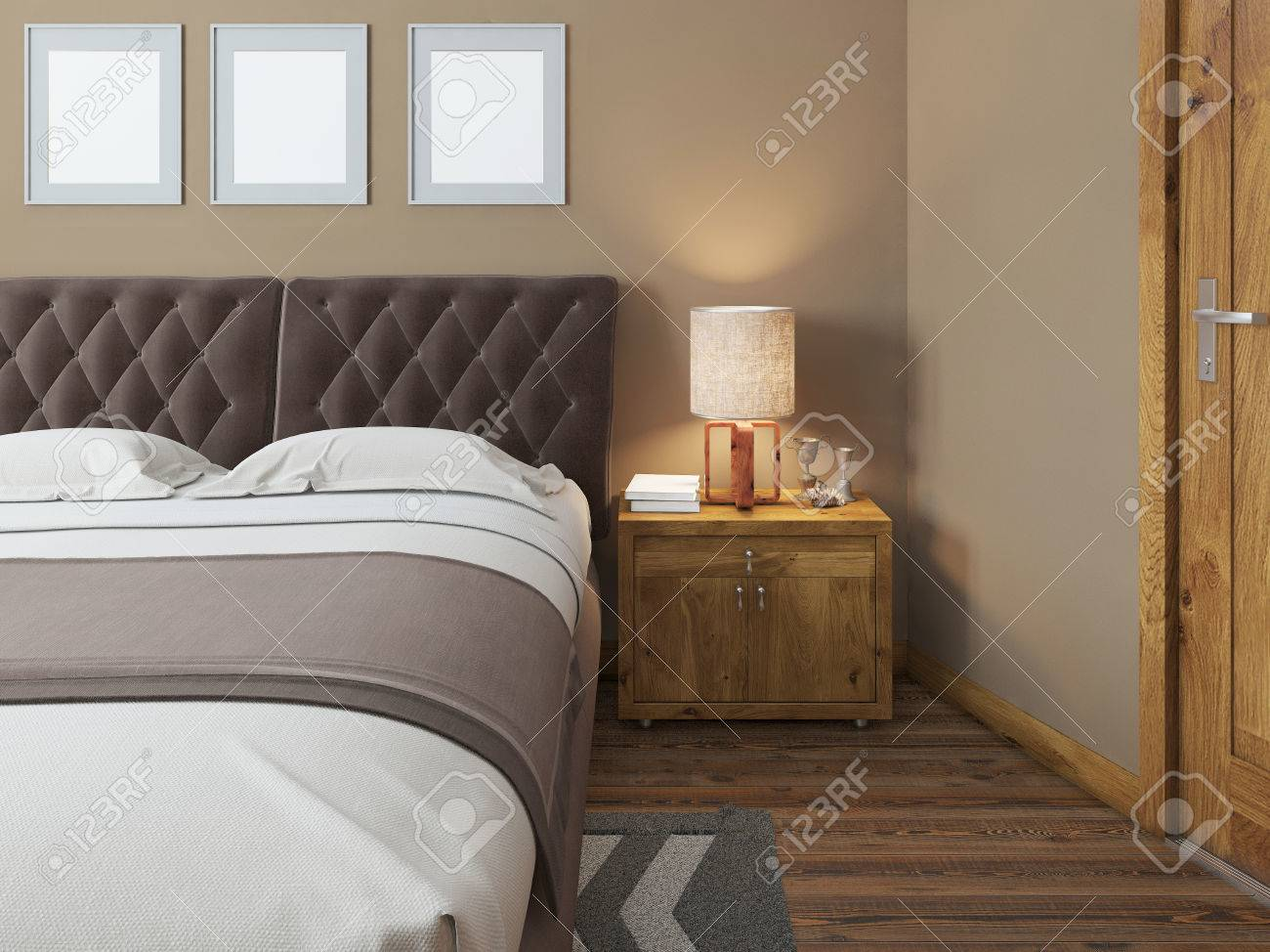 Picture of: Wooden Bedside Tables With Expressive Textures In A Modern Bedroom Stock Photo Picture And Royalty Free Image Image 60564255