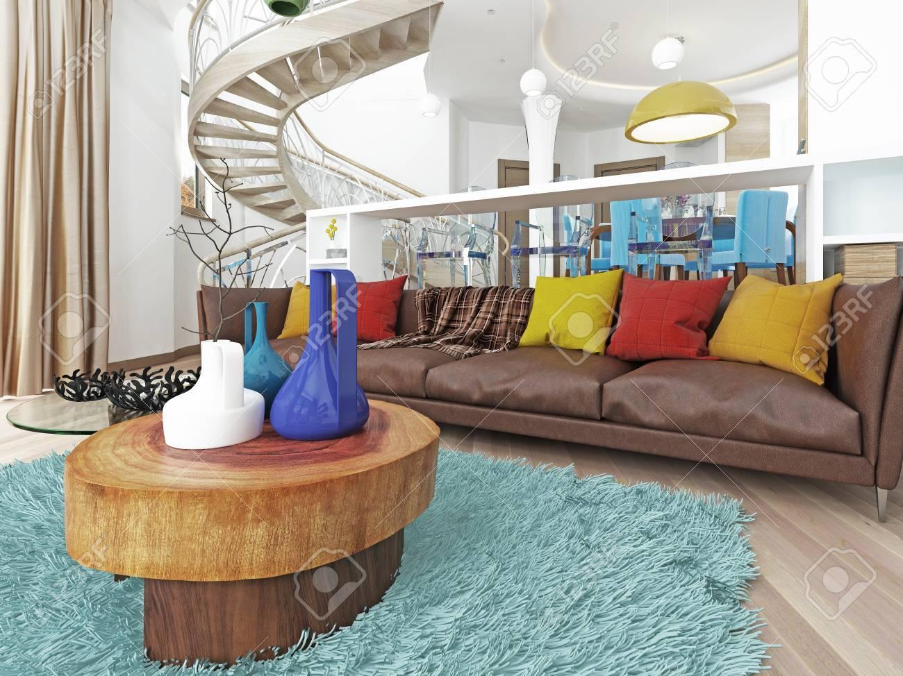 Wunderbar Luxus Großes Wohnzimmer Im Stil Des Kitsches. Moderne Wohnzimmer Mit Großen  Leder, Braun Sofa