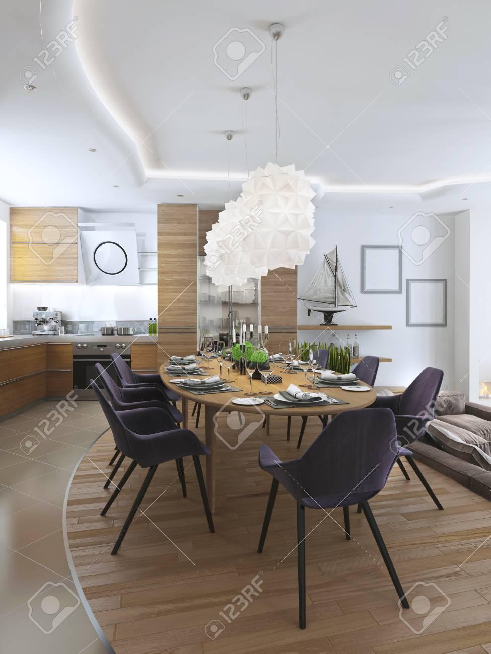 Luxe salle à manger dans un style contemporain avec une grande table à  manger pour huit personnes. Luxe blanc lustre suspendu au-dessus de la  table de ...