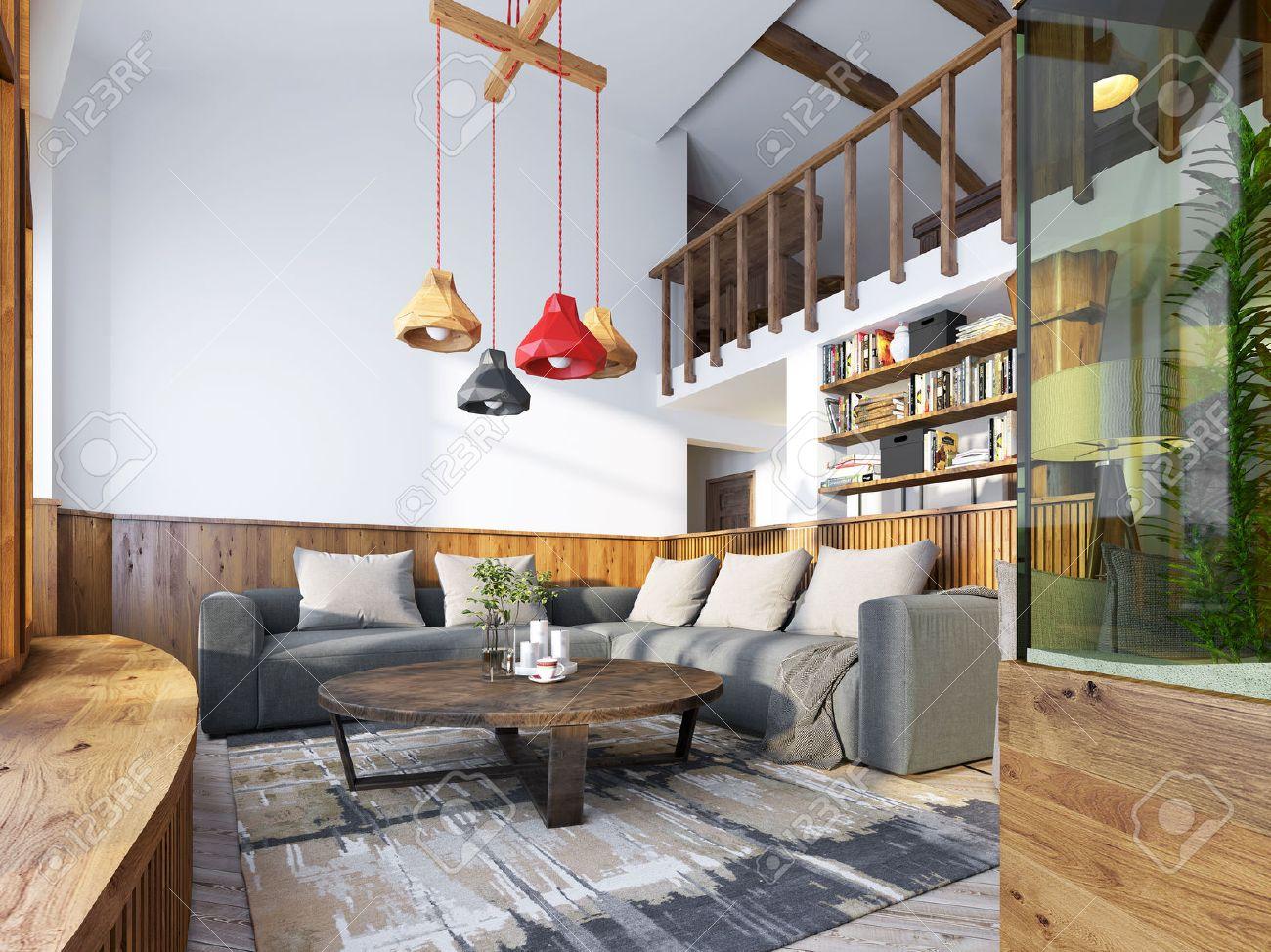 Moderne Wohnzimmer In Einem Loft-Stil. Wohnzimmer Mit Ecksofa Und ...