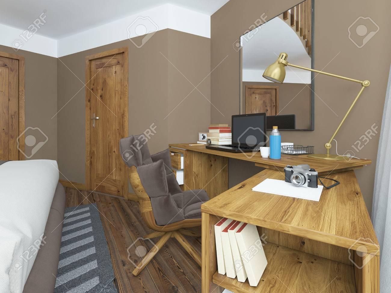 Bureau Dans Une Chambre Moderne, Bois Massif Avec Une Pièce Jointe ...