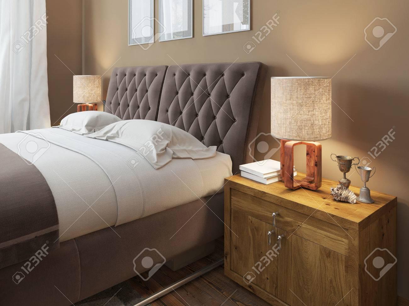 Mesitas De Noche De Madera Con Texturas Expresivas En Un Dormitorio ...