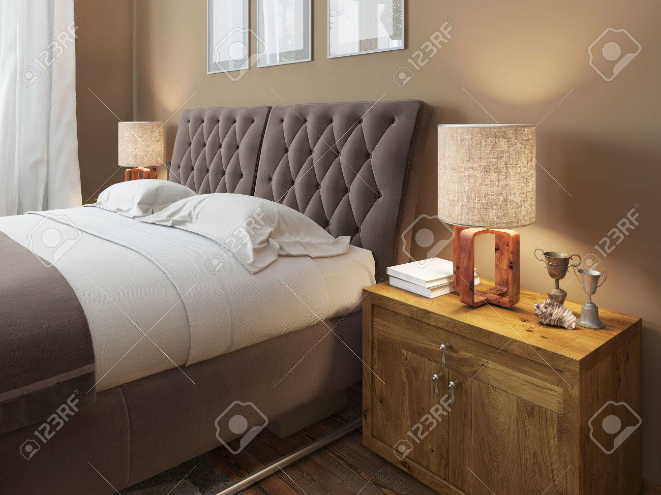 Stock Photo   Wooden Bedside Tables With Expressive Textures In A Modern  Bedroom. On The Bedside Table Lamps In A Rustic Style Decor.