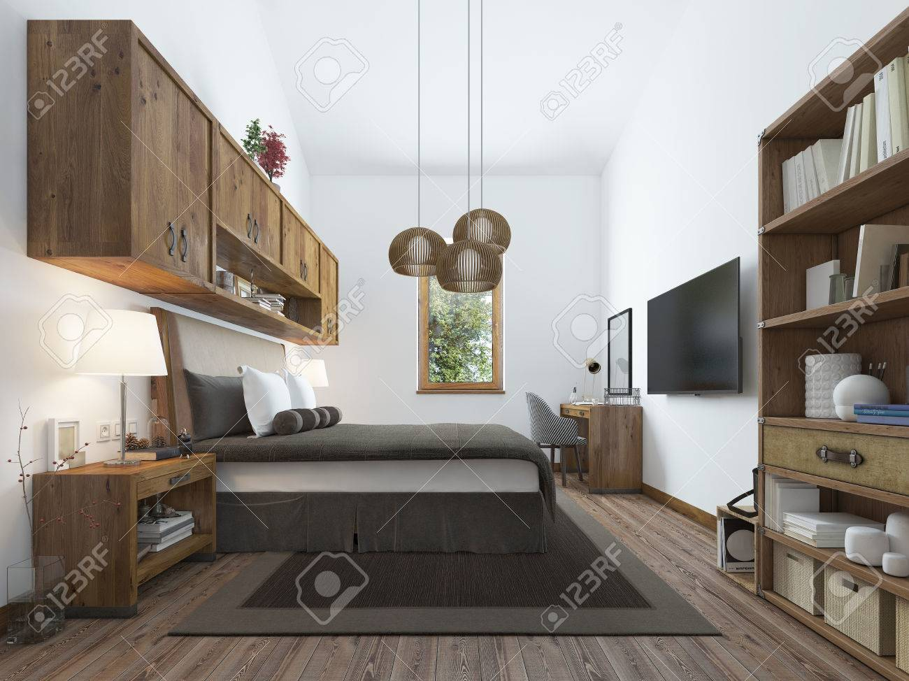 Grande chambre dans un style moderne avec des éléments d\'un loft rustique.  Solution intéressante avec des étagères au-dessus du lit et un balcon au ...