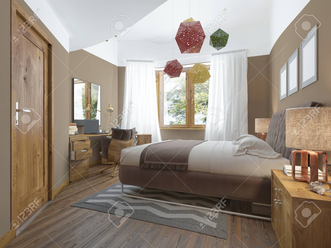 Modern Bedroom In The Style Of Contemporary Bedside Tables With Stock Photo Picture And Royalty Free Image Image 60564570