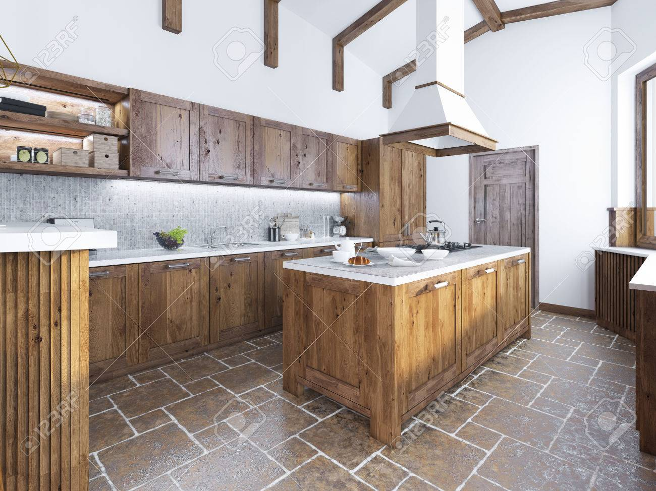 Cuisine moderne dans le style loft. Cuisine île avec une hotte au-dessus.  Cuisine en bois massif de la mode. Rendu 3D.