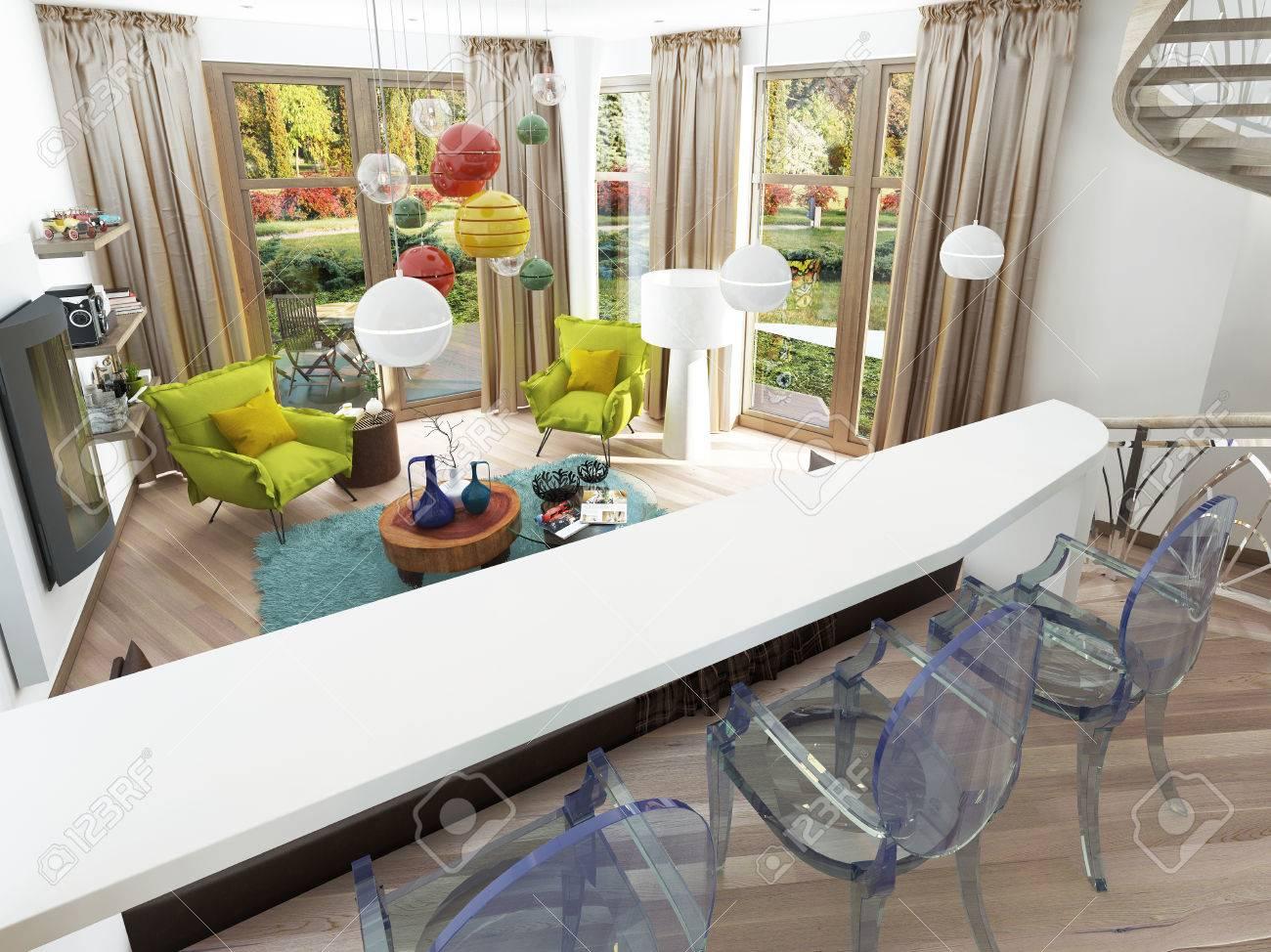 Moderne Weiße Bar Mit Drei Transparenten Stühlen. Die Theke In Der Küche Esszimmer  Mit